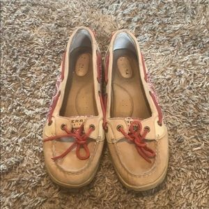 Cute Sperry's with red paisley print on the sides